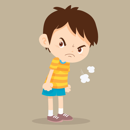 angry boy standing disgruntled look on face. Illustration