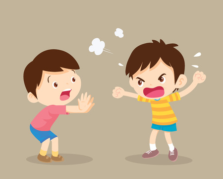 angry children.Quarreling kids. angry boy shouting at friend.Raging kids.children shouting to each other.