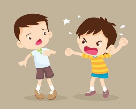 niños enojados Niños peleando. niño enojado gritando a friend.Raging kids.children gritándose entre sí. Ilustración de vector