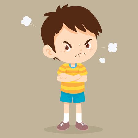 actions de garçon en colère. Enfant en colère debout dans une pose, les bras croisés, avec un regard mécontent sur son visage.