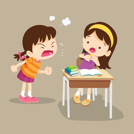 angry children.Quarreling kids. angry girl shouting at friend.Raging kids.children shouting to each other. Illustration