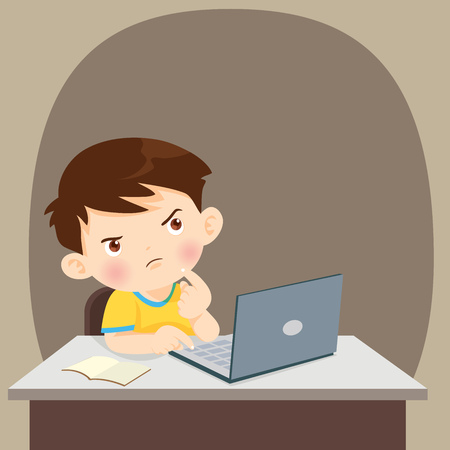 thinking child.student with laptop,Illustration of Kid studying with the use of Laptop, notebook,Boy using laptop