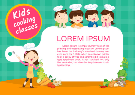 Kids Cooking class certificate design template. Cute little chef cooking meal menu Illustration