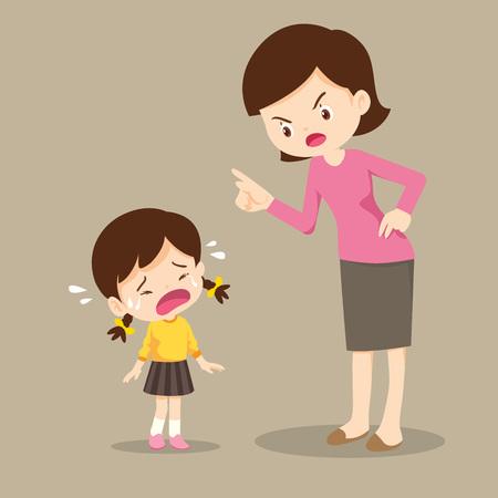 La madre está regañando a su hija y la niña llora tan triste. niño se siente culpable