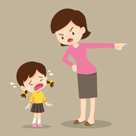 moeder scheldt haar dochter uit en het meisje huilt zo verdrietig. jongen voelt zich schuldig