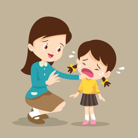 Lehrer tröstet verärgerte Grundschulschüler. Lehrer tröstet weinendes Vorschulmädchen. traurige Kinder wollen umarmen Vektorgrafik