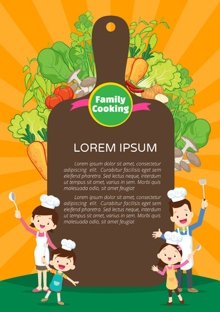 Cute family cooking meal menu, family enjoys with vegetables background. Illustration