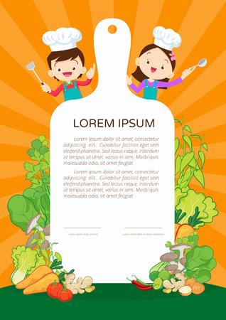 Kids Cooking class certificate design template. Cute little chef cooking meal menu 向量圖像