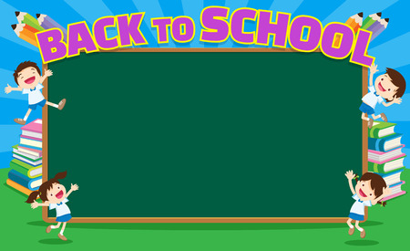 Back to school kids,education concept template with kids Can be used for web banner, backdrop, ad, promotion.chalkboard and books background with back to school kids education concept.