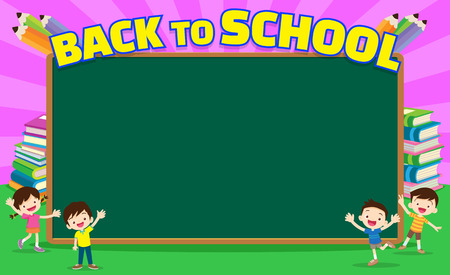 Back to school kids education concept template with kids Can be used for web banner, backdrop, ad, promotion. chalkboard and books background with back to school kids education concept.