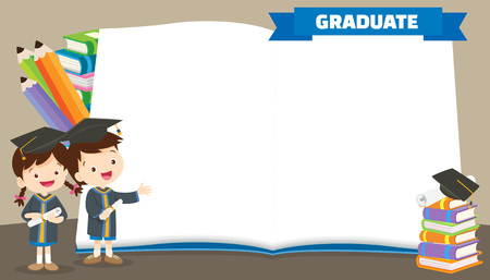 graduate students in graduation gowns holding diplomas poster.congratulations graduates kids. Vector Illustratie