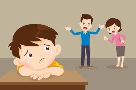 sad child boy crying with angry dad and mom quarrelling. Parents fighting children crying.Little boy  is crying because her parents quarrel.