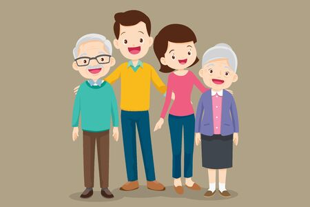 Big Family together. Group of people standing.woman, man, old man, senior woman,Father, mother,grandfather, grandmother