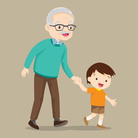 grandson walking with his grandfather,Grandparents and grandchildren.hand in hand.Happy grandparents with their grandchildren taking a walk Illustration