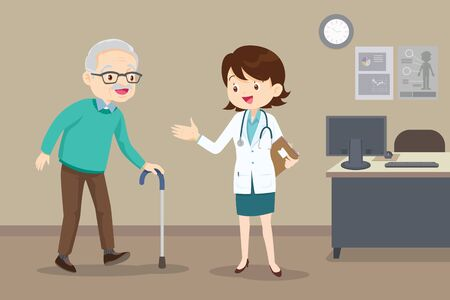 Elderly walking. Doctor helps her grandmother to go to the walker. Caring for the elderly. Illustration