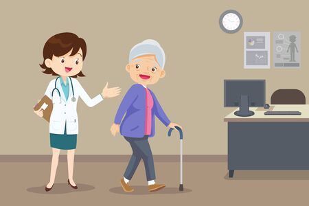 Elderly  walking. Doctor helps her grandmother to go to the walker. Caring for the elderly.