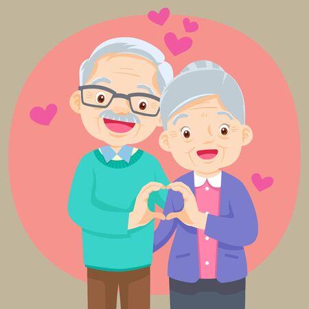 Älteres Paar Händchen haltend machen Form des Herzens. Großmutter und Großvater zusammen. Großeltern. Älteres Paar. Ein Mann und eine Frau im Alter. Hand Herzform