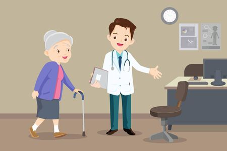 Elderly  walking. Doctor helps  grandmother to go to the walker. Caring for the elderly.doctor and old patient 向量圖像