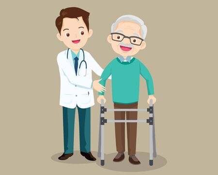 Elderly  walking. Doctor helps  grandfather to go to the walker. Caring for the elderly. doctor and old patient