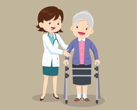 Elderly  walking. Doctor helps  grandmother to go to the walker. Caring for the elderly.doctor and old patient Illustration