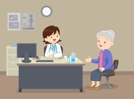 Elderly  walking. Doctor helps  grandmother to go to the walker. Caring for the elderly. doctor and old patient Illustration