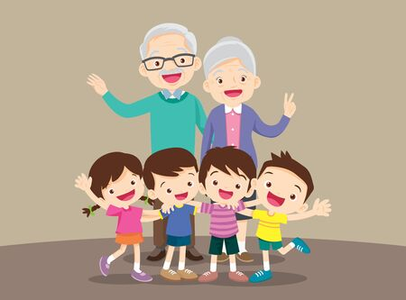 grandparents and grandchildren. Group of people standing. Little boy, teenager girl, happy grandparents with kids  hand up