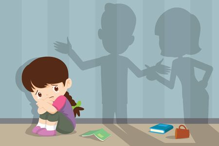husband and wife quarreling.Parents quarrel and child listen. Family conflict. Shadow of Dad and mom  quarreling with sad child crying 向量圖像