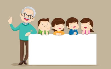 grandparents and childrens with banner for Copy Space.Smiling Grandfather  standing with kids together a white board 向量圖像