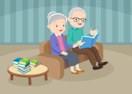 grandfather with grandmother reading book together,Happy elder is looking at wife which is reading book in bright room