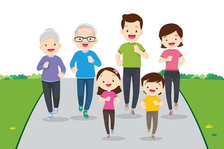 big family jogging and exercising together in public park.Happy Family Running Together For Good Health