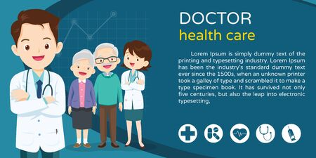 Doctor and elderly healthcare background poster. Doctor for Elderly patients Banner, layout template, cover, ad., poster 向量圖像