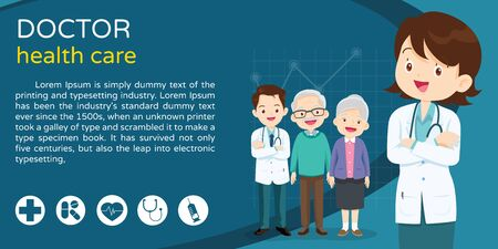Doctor and elderly healthcare background poster. Doctor for Elderly patients Banner, layout template, cover,ad., poster