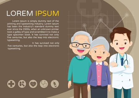 Doctor and elderly healthcare background poster.Doctor for Elderly patients Banner, layout template, cover, ad., poster