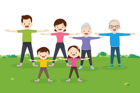 Familie zusammen trainieren. Glückliche Familie, die zusammen im öffentlichen Park für eine gute Gesundheit trainiert Vektorgrafik