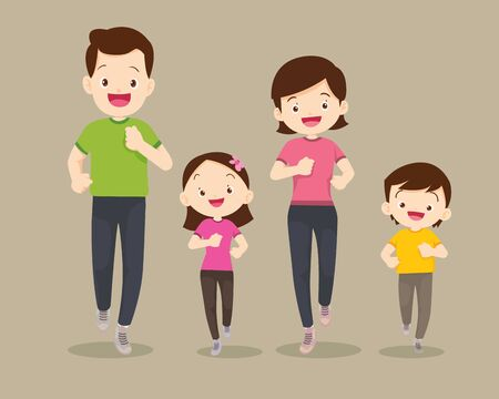 big family jogging and exercising together in public park. Happy Family Running Together For Good Health