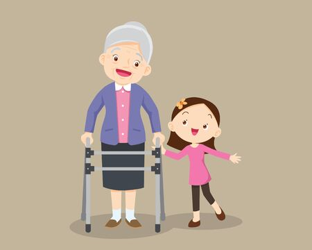 Elderly walking.granddaughter helps grandmother to go to the walker. Kids Caring for the elderly. Children and old patient. granddaughter helps her grandmother to go to the walker 向量圖像