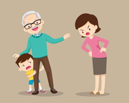 grandparents soothe child from mother scolding.grandfather take care grandchildren from Scolded by mother