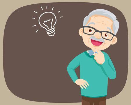 Grand-père debout pensant avoir une idée. vieil homme regardant sur vide ou vide. Les personnes âgées pensent au problème. Les gens réfléchis comprennent le problème. Un grand-père heureux trouve une solution réussie. Vecteurs