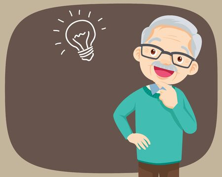 Grandfather standing thinking get idea.oldman looking up on empty or blank.elderly thinks about problem.Thoughtful people understand the problem.happy grandfather find successful solution.