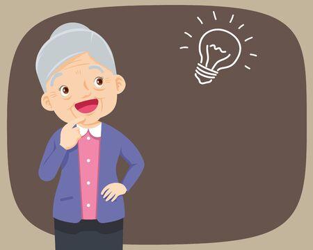 Grand-mère debout pensant se faire une idée. vieille femme regardant sur vide ou vide. les personnes âgées pensent au problème. Les gens réfléchis comprennent le problème. La grand-mère heureuse trouve une solution réussie.