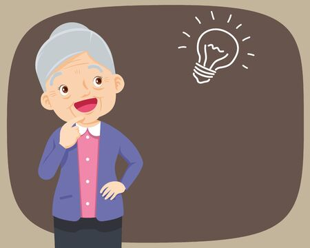 Grandmother standing thinking get idea. oldwoman looking up on empty or blank.elderly thinks about problem.Thoughtful people understand the problem.happy grandmother find successful solution.