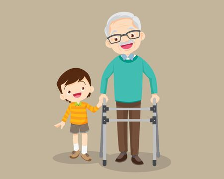 Elderly walking.Grandson helps grandfather to go to the walker.Kids Caring for the elderly.Childern and old patient.Grandson helps him grandfather to go to the walker 向量圖像