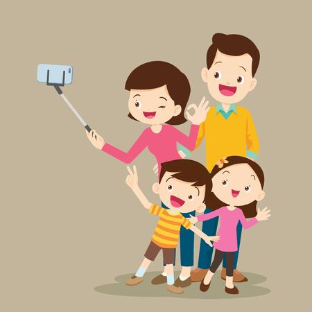 Happy Family Making Selfie. Dad Mom daughter and son Standing doing self portrait with help monopod. 向量圖像