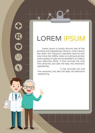Doctor and elderly healthcare clipboard background poster. Doctor for Elderly patients Banner 向量圖像
