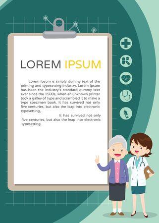 Doctor and elderly healthcare clipboard  background poster.Doctor for Elderly patients Banner 向量圖像