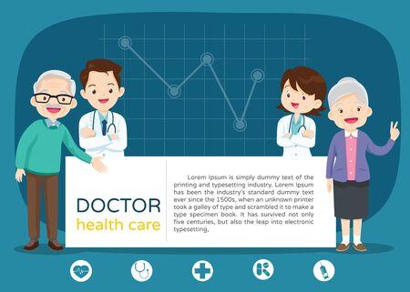 Doctor and elderly healthcare background poster.Doctor for Elderly patients Banner