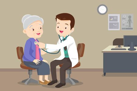 doctor examining old patient.Doctor listening to chest of patient with stethoscope. Adult patient visiting doctor. Doctor examining chest of a grandparent. 向量圖像
