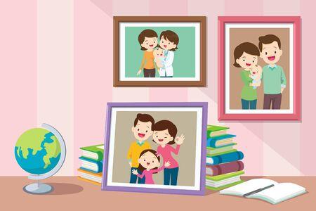 Foto di figlie di neonati che crescono con i genitori. Raccolta di foto di membri della famiglia in cornici. Pacchetto di quadri murali o fotografie incorniciati con persone sorridenti.
