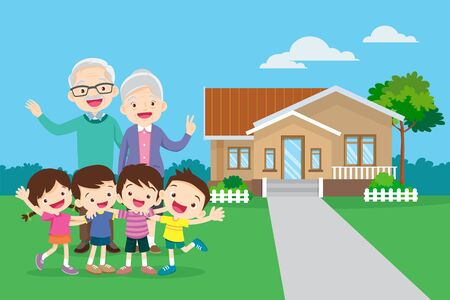 grandparents and childrens. Group of people standing.happy grandparents with kids hand up the background of his home. 向量圖像