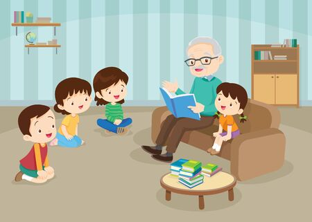 grandparents with grandchildrens reading,The grandchildrens read books for the grandfather to sit on the sofa to enjoy.Grandfather And kids Reading A Book